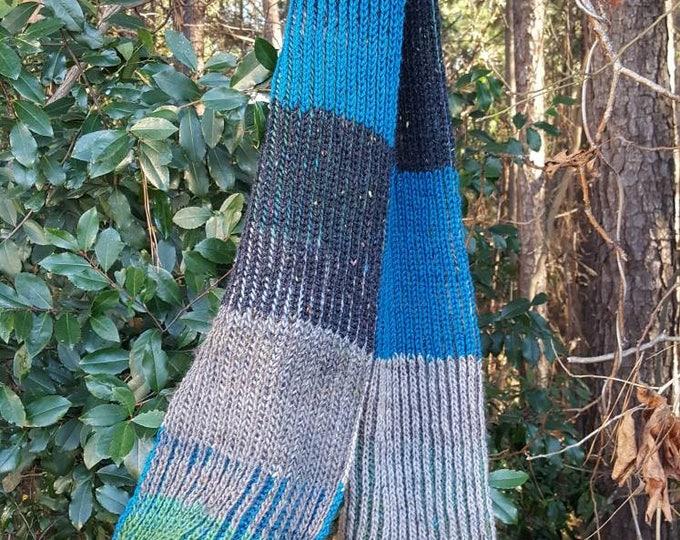 Handmade Brioche Knitted Long Wide Colorblock Warm Wool Scarf Wrap Shawl