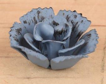 """1.25"""" Blue metal flower, blue flower, metal flower, craft flower, blue rose, red rose, pink rose, red flower, pink flower"""