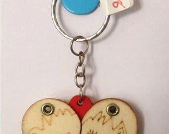 Heart Shaped Wooden Keyring Key Chain