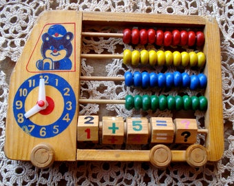 Soviet Vintage Abacus with a clock / Wooden Abacus / Made in USSR /Children Abacus/ Home Decor /Unused/1980s