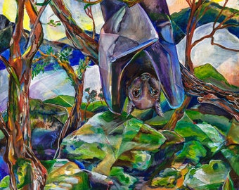 "Woodland animal print - Bat Woods - art 11x14"" print"