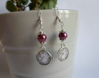 Red pearls, clock charm earrings