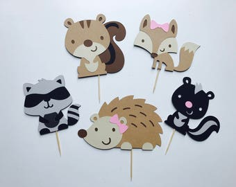 Woodland Creatures Cupcake Toppers - Skunk, Possum, Squirrel, Racoon, Fox - Cake Smash Topper Props - Birthday Party Toppers