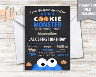 Cookie Monster Birthday Invite 5x7 Digital Personalized Cookie Monster Invitation First Birthday Invite, #50.0