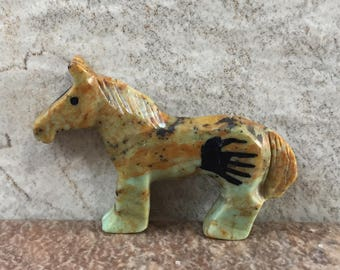 Zuni Fetish-Native American Art-WILD HORSE-Little Art-Stone Totem Animal-Zuni Carving-Turquoise Horse