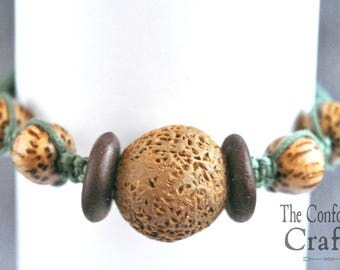 Handmade wood and clay macrame bracelet