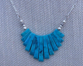 Genuine Turquoise 13 Piece Tapered Strip Centerpiece Necklace