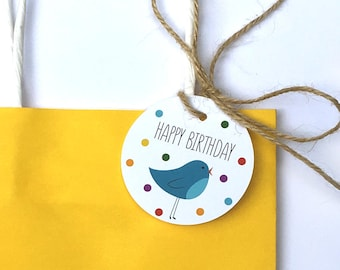 Happy Birthday gift tag with illustrated blue bird and confetti – set of 12