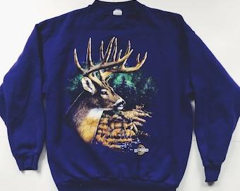 Vintage Deer Sweatshirt | 90s