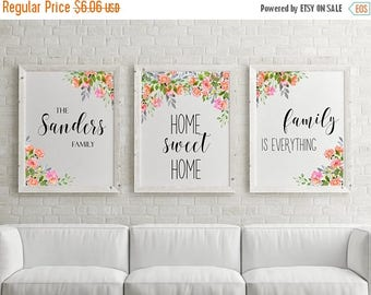 SALE 50% Set of 3 prints Set of 3 wall art Personalized family name Custom family name Printable set Home decor Watercolor flowers Floral wa