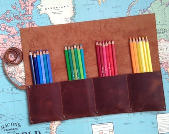 Leather pencil Roll up Case Custom pencil roll Leather roll Leather Tool Roll Leather Pencil Case Roll up Pencil Case Leather Watch Roll