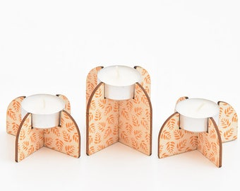Set of 3 wooden tea light Holders
