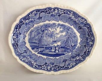Mason's Vista Ironstone Blue & White Serving Platter