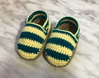 Cozy Baby Cotton Espadrilles Crochet Baby Shoes Yellow and Green booties