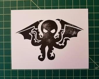 Ia! – Cthulhu Block Print Postcard