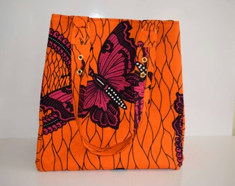 Tote bag in orange patterned African fabric (Ankara)