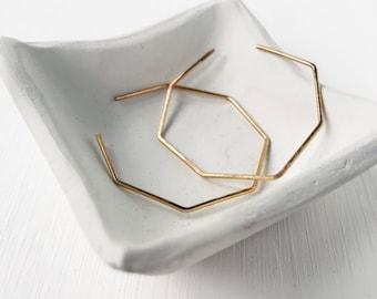 Octagon hoops, geometric earrings, minimalist jewelry, modern earrings, contemporary jewellery