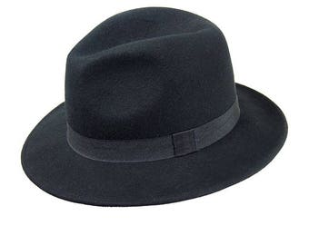 Lady's Black Wool Felt Fedora Hat