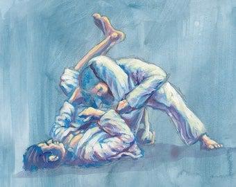 Brazilian jiu jitsu setting triangle submission