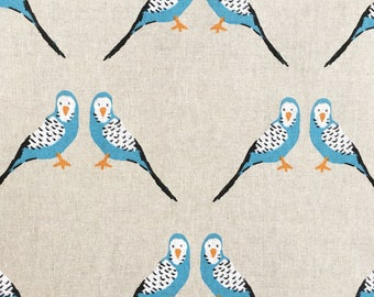 Budgies fabric - budgerigar parakeet - linen look - beige blue fabric - upholstery canvas - bird fabric - furnishings cotton canvas