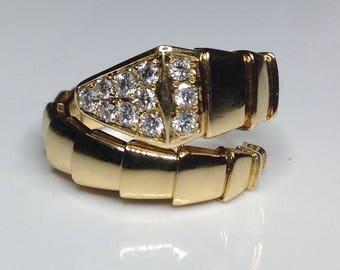 18K Yellow Gold 0.34 CTW Diamond Snake Serpent Serpenti Band Ring 10.2G