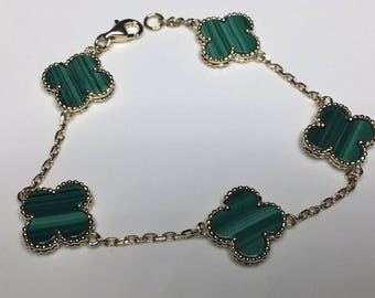 "Estate 18K Yellow Gold Flower Clover Motif Malachite Chain 7.25"" Bracelet"