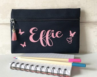 personalised pencil case, navy blue pencil case, custom pencil case, back to school, teachers gift, school pencil case, student gift,