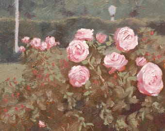"Original oil painting ""Oaks and Roses"" 10x8 oil on birch"