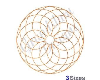 Retro Spirograph Redwork  - Machine Embroidery Design