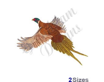 Pheasant Flying - Machine Embroidery Design