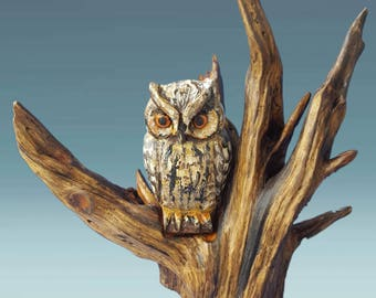 Owl statue, owl figurine, owl sculpture, hand carving artwork, owl statues, owl art, owl décor, owl home décor, owl sculptures, owl on wood