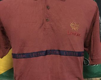 RARE!!!Vintage LEGERE by MCM Spell Out S/Sleeved Polo Shirt//Made in Italy//Medium Size