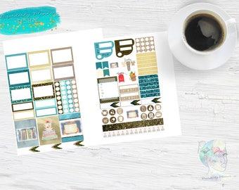 Original Art Watercolor Planner Stickers - Reading Stickers - Book planner stickers