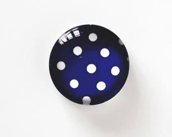 Glass cabochon round 12 mm. Domed top and flat bottom. Polka dot theme.  Chic, retro, vintage. Blue Royal and white polka dots.