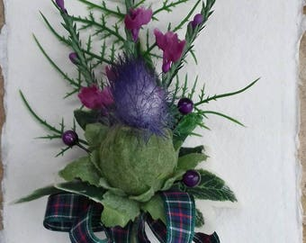Scottish thistle & heather buttonhole with tartan ribbon Hand made in Scotland