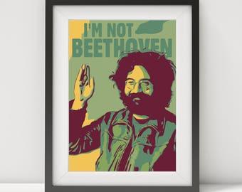 jerry garcia, jerry garcia poster, jerry garcia print, music poster, the grateful dead poster, guitar legend, rock legend, folk music, print