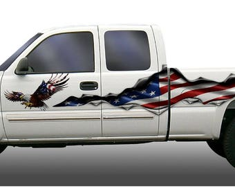 American flag eagle tear rip  vinyl graphic decal set truck trailer rv motorhome go kart semi