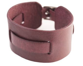 Handmade leather Watch band cuff bracelet - wide