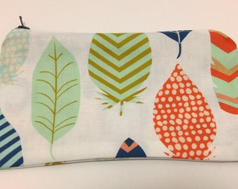 Leaves or Feathers Novelty Zipper Pouch - makeup bag; pencil case; gift for her; cosmetic bag; carry all; gadget case; birthday; bridesmaids