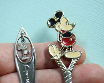 Vintage Two Walt Disney Productions Mickey Mouse Collectible Souviner Child's spoons, Disney memorabilia, PetesNeatOldStuff, gift under 25