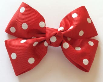 Red & white spotted butterfly bow