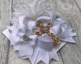 White stacked hair bow - christening -  baptism - wedding hair accessorie - bridesmaid - big hair bow - ott stacked hair bow - big bow