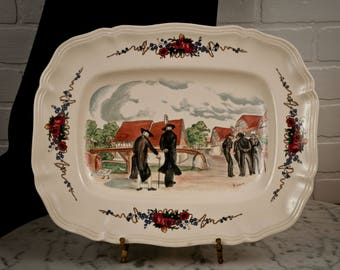 Sarreguemines French Faience Platter Tray by Henri Loux - Alsace - France