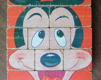 """Vintage 1960's Walt Disney Block Puzzle """"Scramble 4 Famous Faces"""""""