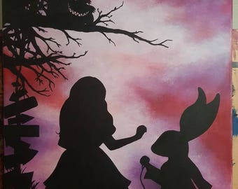 Hand painted Alice in wonderland canvas painting 70cm x 50cm hand painted original deep edge canvas One of a kind!
