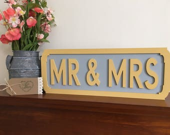 Mr and Mrs vintage wedding decor gift sign