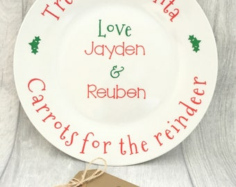 Santa plate, personalised Santa plate, Christmas Eve treats