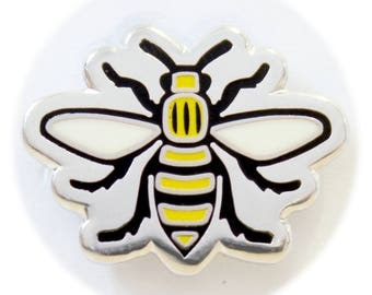Manchester Bee Enamel Pin Badge - Hard Enamel Nickel Free Metal Brooch - Manc and Proud Madchester Mancunian Hacienda Worker Bee Mad For It