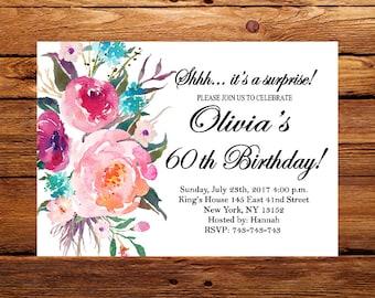 Floral invite,Surprise 60th Birthday Invitation,Women Birthday Invitation,Any Age Women Birthday Invite 30th,40th,50th, 70th, 80th, 90th 198