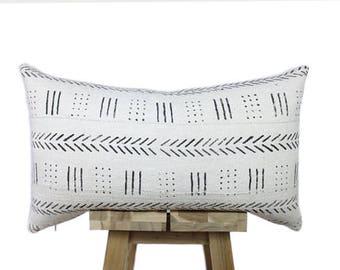 African Mudcloth Pillow, Cream and Black | 'Maya'